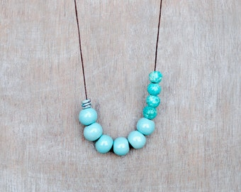 Aqua Necklace, Blue Ceramic Necklace, Pastel Blue Necklace, Clay Necklace