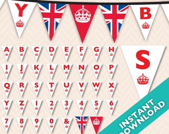 DIY Printable British Theme Banner ... Use again and again for every event, baby shower, birthday, etc.