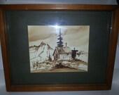 Richard Wagner Art, Mountain Cabin 1973, Original Art Richard Wagner, Art, Richard Wagner, Mountain Cabin