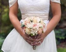 Romantic Wedding Bouquet -Natural Bridal Bouquet, Keepsake Alternative Bouquet, Sola Bouquet, Shabby Chic Rustic Wedding
