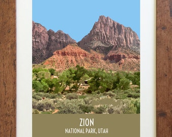 Zion National Park Utah Travel Poster – Vintage Style, Digital Download – 11 x 14 or 8 x 10