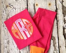 Pink Monogram Pajamas - Personalized PJS - Girls Pajamas - Hot Pink/Orange Pjs - Pajama Day