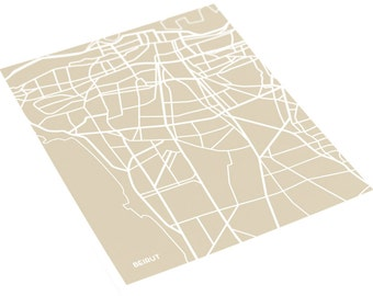 Beirut Map Poster City Print / Lebanon Wall Art / 8x10 Digital Print / Choose your color