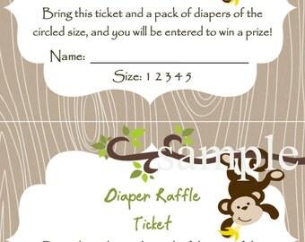 Monkey Baby Shower Diaper Raffle Card 2 per 4x6 - diaper size