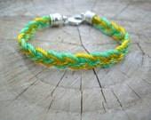 Shades of Green Braided Bracelet - mint green & neon green