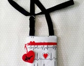 Nurse EKG Heartbeat Hip Tote Zipper Bag