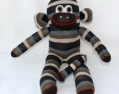 Sock Monkey / Brown, Gray, Blue Striped / 15 inches