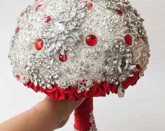 Brooch Bouquet. RED Bouquet, Unique Wedding Bridal Bouquet
