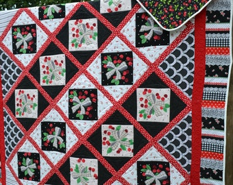 Handmade Quilt Retro Chic Red and Black Floral Cherry Lace Gingham Vintage Feel Cottage Chic Twin Quilt
