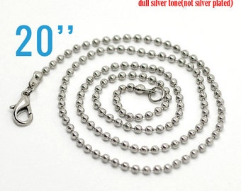 "48 Necklaces 2.4mm Ball Chain Antique Silver - 20"" - WHOLESALE - Ships IMMEDIATELY from California - CH255c"