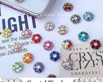 Bling Sparkle Flower Home Button Swarovski Elements Crystal Diamond Peel Pop Up Sticker Apple iPhone 6s Plus 5s 5c iPad iPod