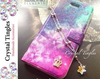 Galaxy Stardust Rainbow Effect Crystal Star Chain Wristlet Wrist Wallet Case For iPhone 5S or SE with Sparkle Diamond Gold Crown