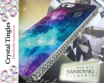 Galaxy Stardust Pattern Sparkle Frame For iPhone SE 5S Case Made w/ Swarovski Elements Crystal Smooth Back Surface or 3D Diamond Cut Texture