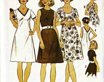PATTERN Simplicity 5622 Semi Fitted A-line shift dress with neckline variations Size 12-1/2 uncut Look Slimmer Pattern