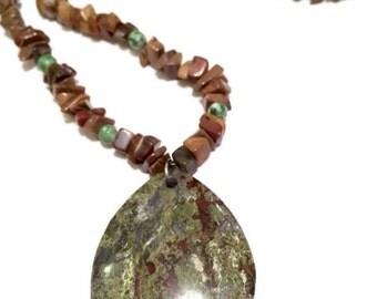 Brown & Green Stone Pendant