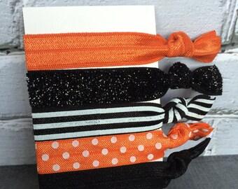 Oregon State Beavers elastic hair ties, OSU, Set of 5 elastic hair ties, Girls hair ties, Ponytail holders, orange and black