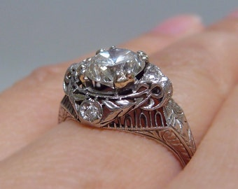 On SALE!! Edwardian / Victorian Diamond Platinum Engagement / Right Hand Ring - GORGEOUS