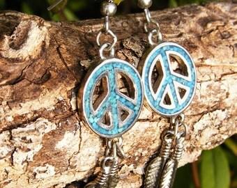 Peace & Feathers Drop Earrings