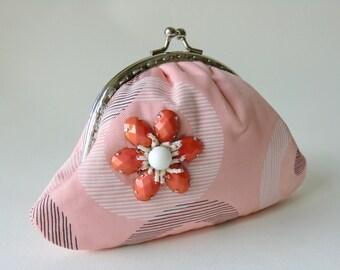 Orange Flower Purse Cotton Cosmetic Bag Coin Purse Beaded Kiss Lock Purse Birthday Gifts Idea Bridesmaids Gift Peach Chic Small Pouch