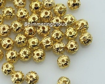 "Filigree beads, gold plated, cage balls, round, 4 mm / 0.157 "", metal findings, jewelry supplies, earrings findings,"