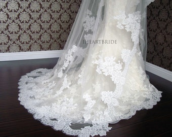 Luxury Couture Designer Lace Drop/Circle Veil - Lace Edge & Applique style -Soft Delicate Lace Veil by IHeartBride V-DLA  Estera Applique
