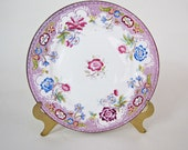 Set of 5 19th Century Purple-Floral Design Small Plates