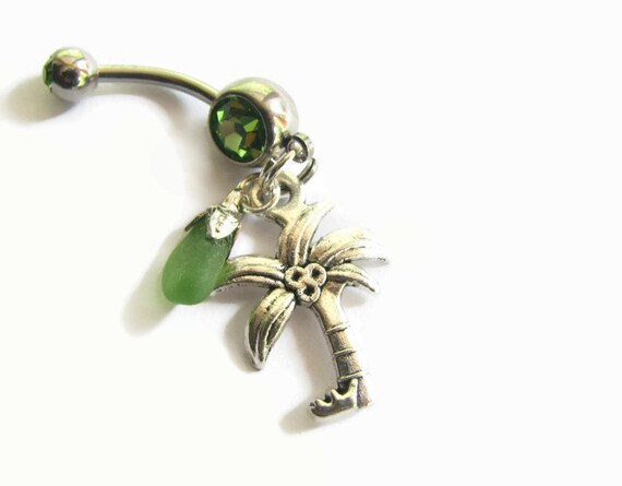 glass belly button jewelry palm tree by bitsoffthebeach