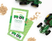 Tractor Birthday Party Invitation - Kids Birthday Invites - Printed Birthday Invitation