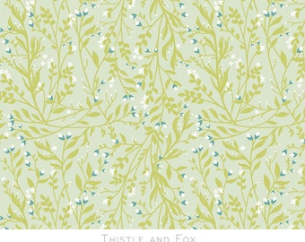 Thistle and Fox Fabric Fat Quarter Botanical Tangled Green Vines Tiny Floral Printed Cotton Fabric Spring Summer