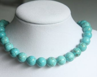 Turquoise Chunky Necklace,Howlite,12mm Round Gemstone Beaded Necklace,Statement Necklace