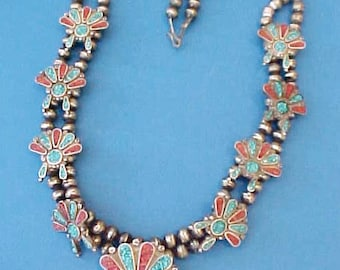 Gorgeous Vintage Native American Zuni Necklace with Inlaid Coral and Turquoise