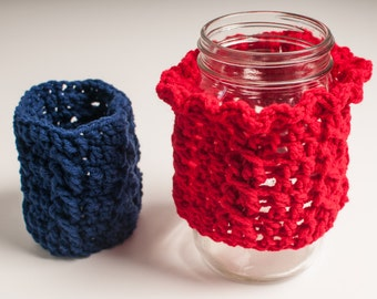Spring SHOP EVENT Blue Mason Jar Cozy, Cabled, Jar Sleeve, US Shipping Included - Ready to Ship