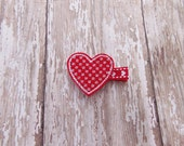 Valentine Heart Hair Clip, Red Lacey Valentine's Day Clippie, Red Felt Heart Clippie, Hair Clip for Baby, Infant, Toddler, Girl or Adult