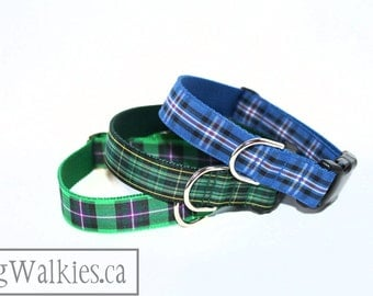"Rangers Tartan Dog Collar - FC Plaid Dog Collar - 1"" (25mm) Wide - Quick Release or Martingale Dog Collar - Choice of collar style and size"