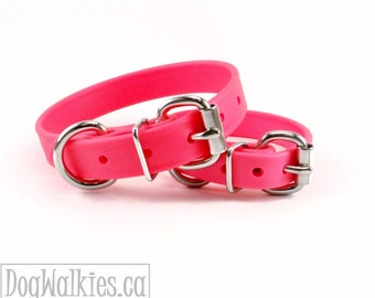 "Hot Neon Pink 3/4"" (19mm) Beta Biothane Dog Collar - Leather Look and Feel - Custom Sized - Stainless Steel or Brass Hardware"