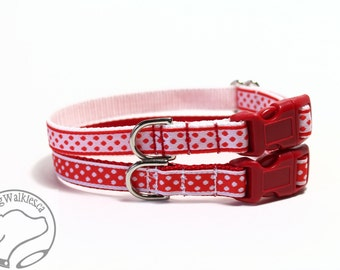 "Red and White Dot - Thin Dog Collar - 1/2"" (13mm) Wide - Martingale or Side Release Buckle - Choice of collar style, color and size"