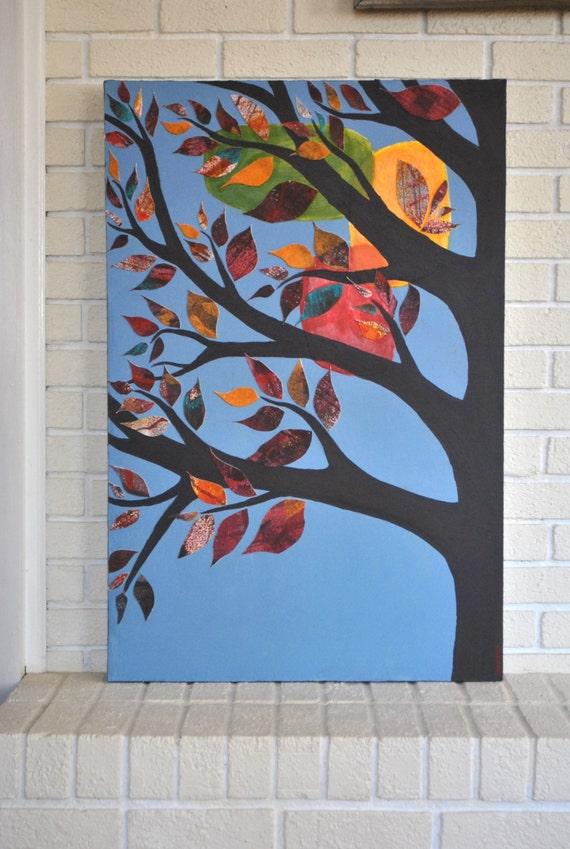 RESERVED FOR AMANDA Patchwork Tree- Original Mixed Media Artwork