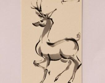 Ink art, mini art Japanese art, animal painting, Animal art, mini painting, Deer art, Deer painting, Deer drawing, mini deer art, Nara deer