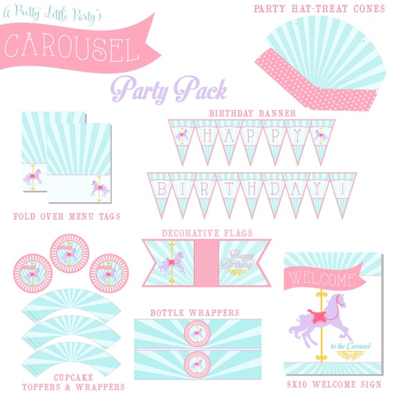 CAROUSEL Party Pack  - Merry go Round Party Digital files - Horse Party Supplies - INSTANT DOWNLOAD