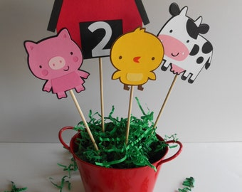 Zoo Animals, Down On The Farm Centerpieces for Birthday Party, Baby Shower, Party Decorations