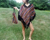 Vintage Fringed Poncho Set Festival Clothing Mexican Hat Purse Boho Hippie Bright Colorful Ethnic Outerwear