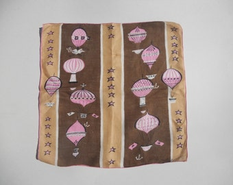 Vintage Pat Prichard Handkerchief Pink and Brown Hankie Mid Century Hot Air Balloons Gift for Her