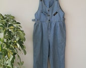 Overalls Jumpsuit Light Wash Denim Size Small to Medium 1980's