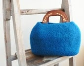 Teal felted bag - knitted felted