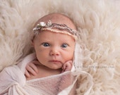 Newborn Photo Prop - Newborn Headband: Newborn Tieback, Newborn Flower Crown, Newborn Halo, Organic Photography Props, Brown, White, Ivory
