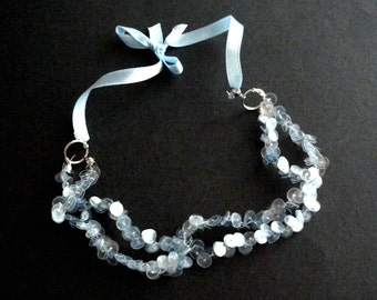 Light blue necklace delicate choker made of recycled plastic upcycled jewelry statement necklace ribbon sustainable jewelry repurposed