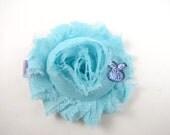 Aqua Blue and Lavender Easter Flower Hair Clip - Aqua Blue Hair Clip - Lavender Hair Bow - Shabby Hair Clip - Bunny Hair Bow - Easter