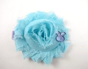 Aqua Blue and Lavender Easter Flower Hair Clip - Aqua Blue Hair Clip - Lavender Hair Bow - Shabby Hair Clip - Bunny Hair Bow - Easter
