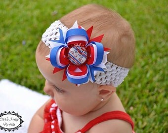 Babys First 4th of July Hair Bow - Baby 4th Of July Headband - My First Headband - Red Blue White Hair Bow - Newborn  Infant Baby Headband