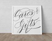 Scripted Elegance Wedding - Cards & Gifts Sign - Instant Download